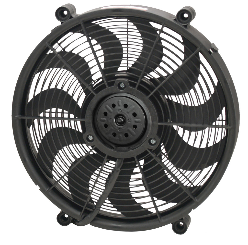 Derale 16917 Electric Cooling Fan, 17 in Fan, Push / Pull, 2400 CFM, Curve Blade, 16-7/8 x 16-7/8 in, 2-5/8 in Thick, Plastic, Each