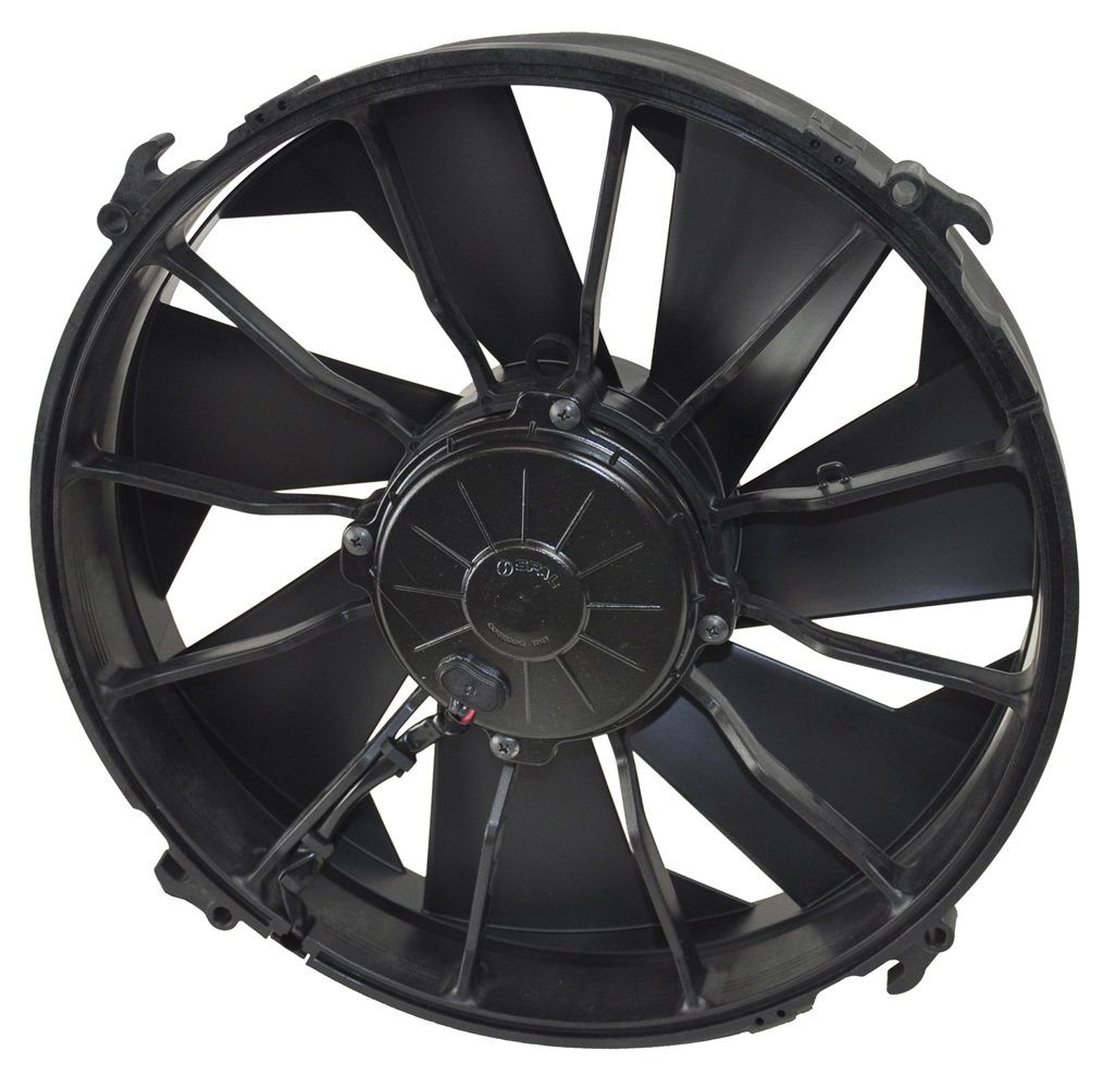 Derale 16924 Electric Cooling Fan, 12 in Fan, Push / Pull, 2000 CFM, 12V, Curve Blade, 13-1/8 x 13-1/8 in, 3-1/2 in Thick, Plastic, Each