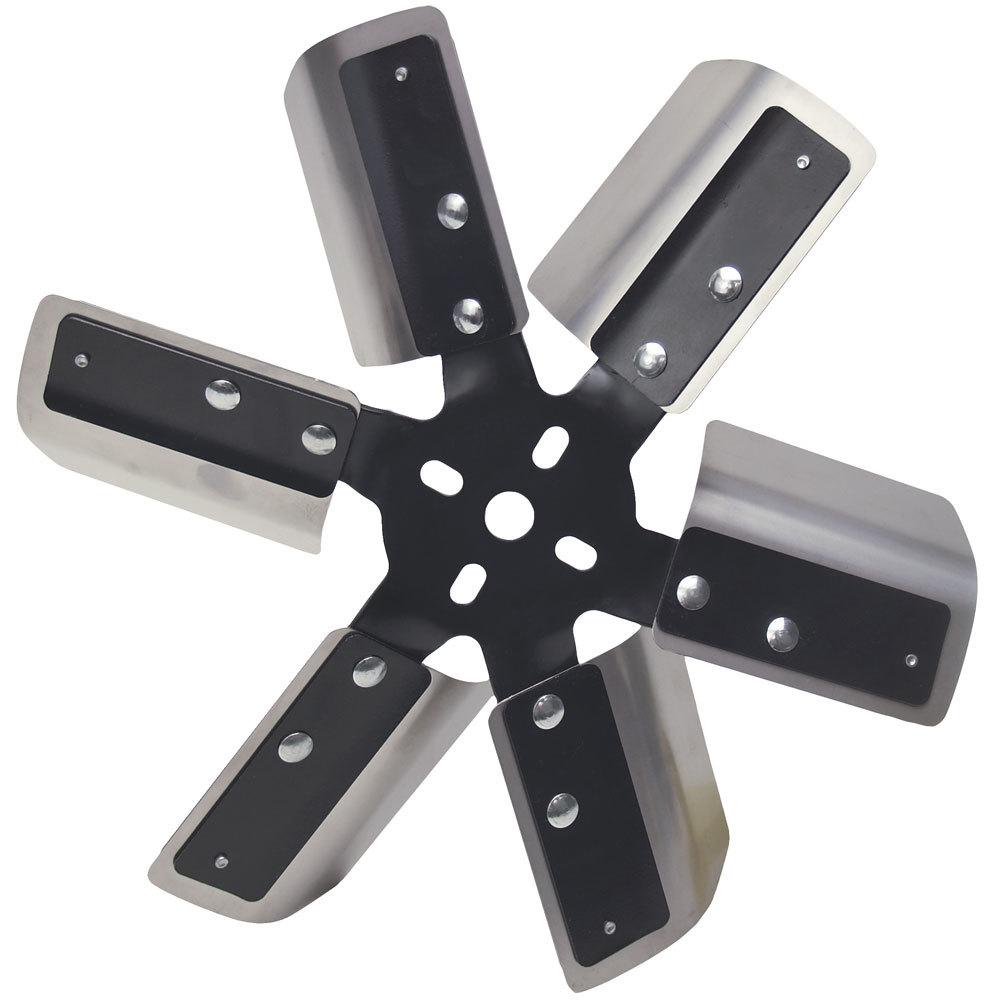 Derale 17013 Mechanical Cooling Fan, 13 in Fan, 6 Blade, 5/8 in Pilot, Universal Bolt Pattern, Steel Hub / Stainless Blades, Black Powder Coat / Natural, Each