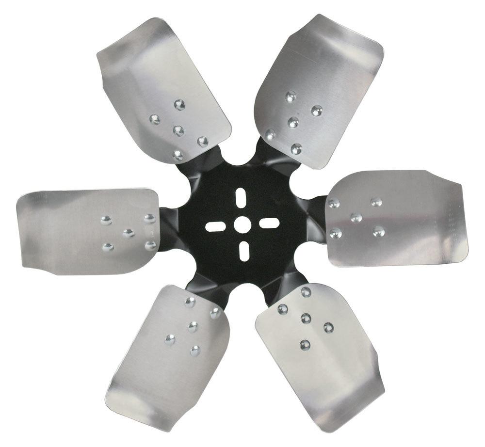 Derale 17517 Mechanical Cooling Fan, Rigid Race, 17 in Fan, 6 Blade, 5/8 in Pilot, Universal Bolt Pattern, Steel Hub / Aluminum Blades, Black / Natural, Each