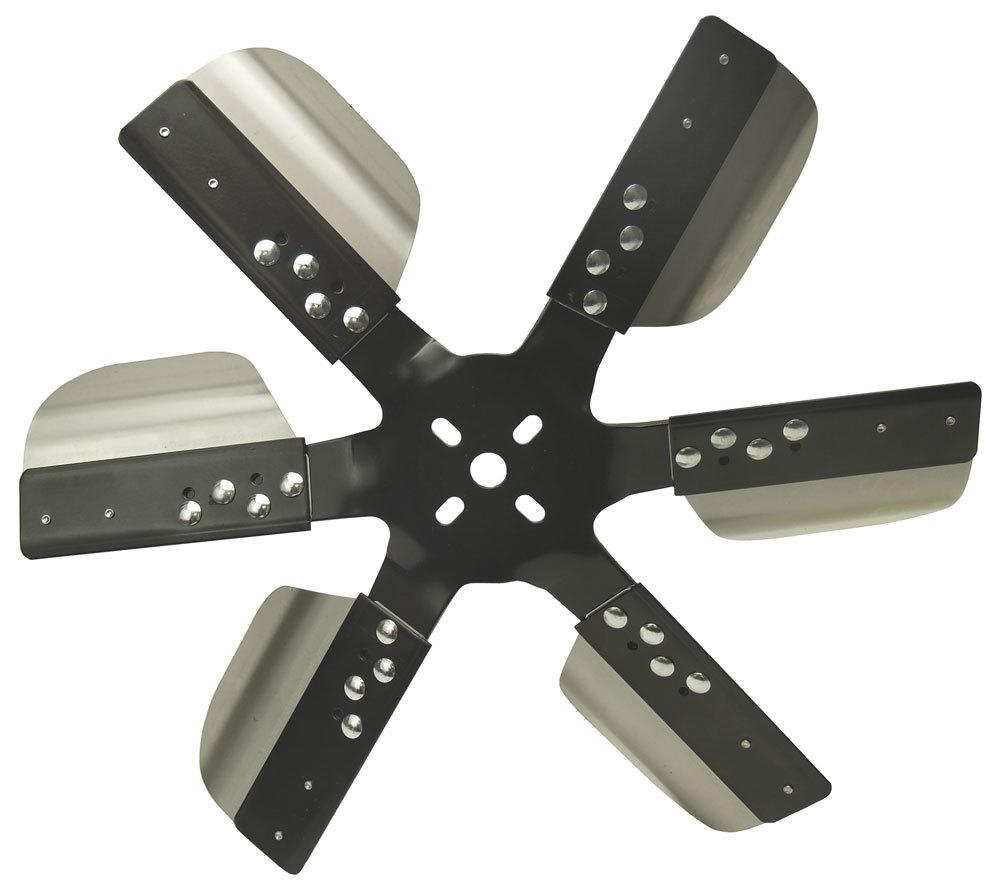 Derale 17617 Mechanical Cooling Fan, Reverse Rotation Rigid Race, 17 in Fan, 6 Blade, 5/8 in Pilot, Steel Hub / Stainless Blades, Black Powder Coat / Natural, Universal, Each