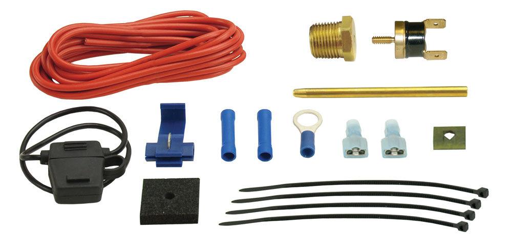 Derale 18735 Fan Controller, Dual Probe, 180 Degree F On, 165 Degree F Off, 3/8 in NPT Thread-In Probe, Push-In Radiator Probe, Kit