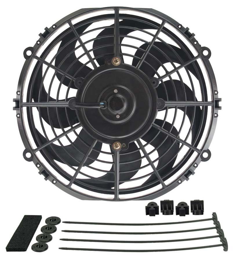 Derale 18910 Electric Cooling Fan, Dyno-Cool, 10 in Fan, Push / Pull, 590 CFM, Curved Blade, 11-1/2 x 10-3/4 in, 1-1/2 in Thick, Install Kit, Plastic, Kit