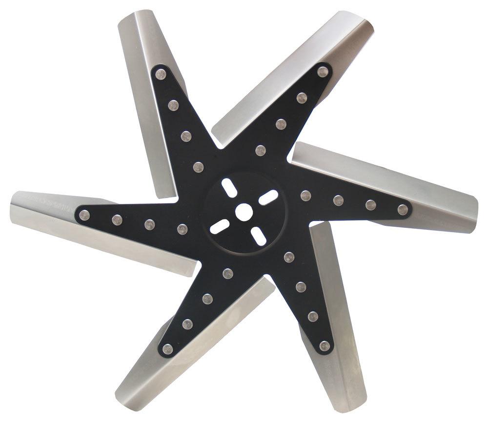 Derale 19117 Mechanical Cooling Fan, Flex, 17 in Fan, 6 Blade, 5/8 in Pilot, Universal Bolt Pattern, Steel Hub/Stainless Blades, Black/Natural, Each