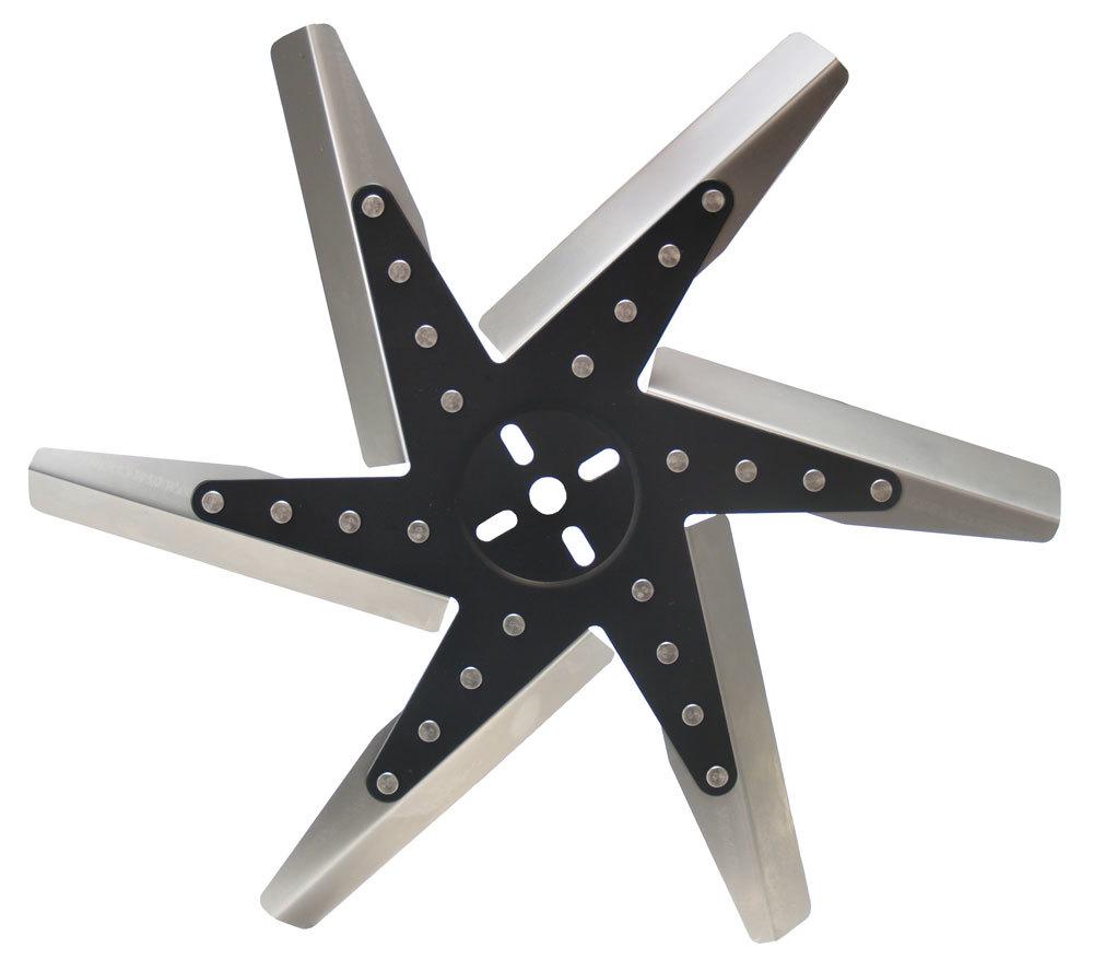 Derale 19118 Mechanical Cooling Fan, Flex, 18 in Fan, 6 Blade, 5/8 in Pilot, Universal Bolt Pattern, Steel Hub / Stainless Blades, Black / Natural, Each