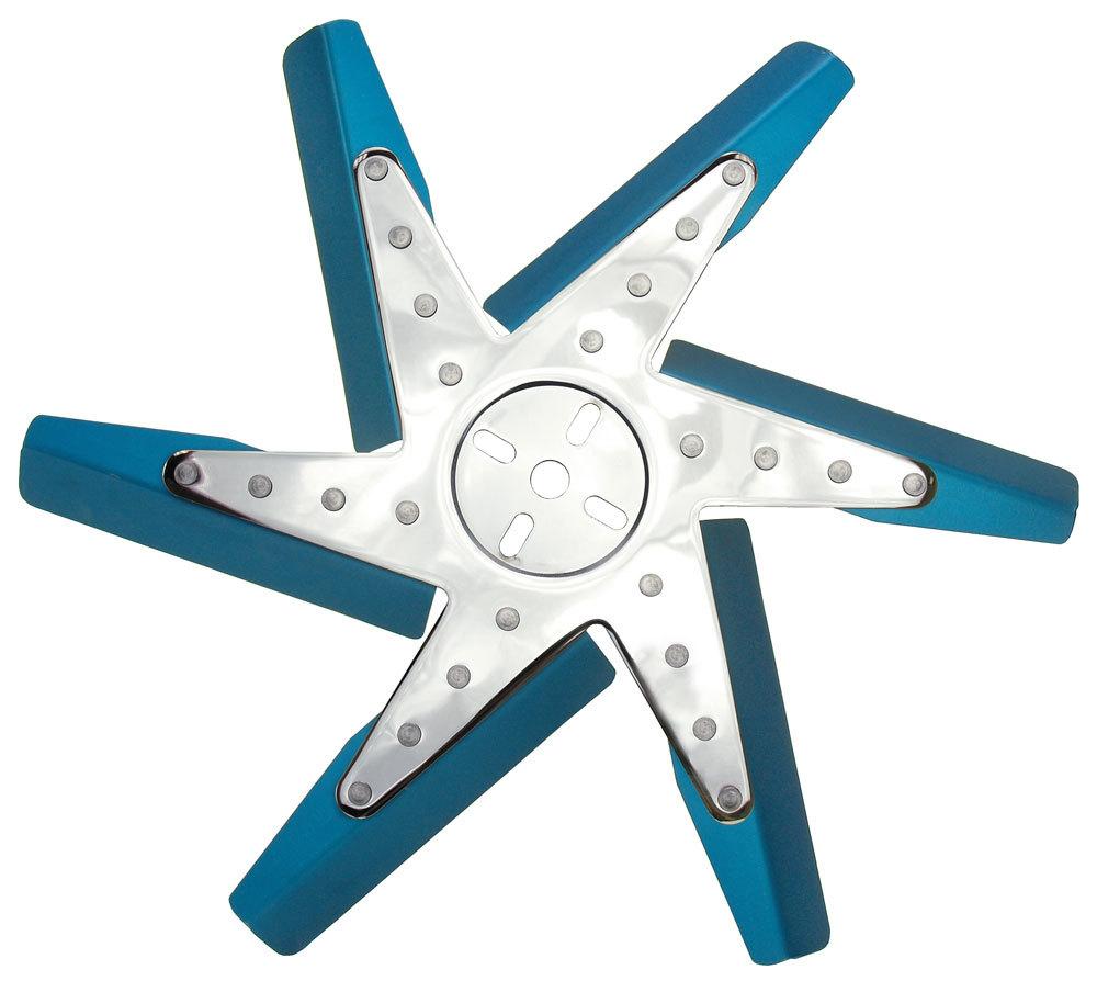 Derale 19517 Mechanical Cooling Fan, Narrow Flex, 17 in Fan, 6 Blade, 5/8 in Pilot, Universal Bolt Pattern, Steel Hub/Aluminum Blades, Blue/Chrome, Each