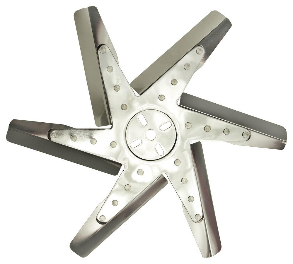 Derale 19717 Mechanical Cooling Fan, Reverse Rotation Flex Fan, 17 in Fan, 6 Blade, 5/8 in Pilot, Universal Bolt Pattern, Steel Hub / Stainless Blades, Polished / Chrome, Each