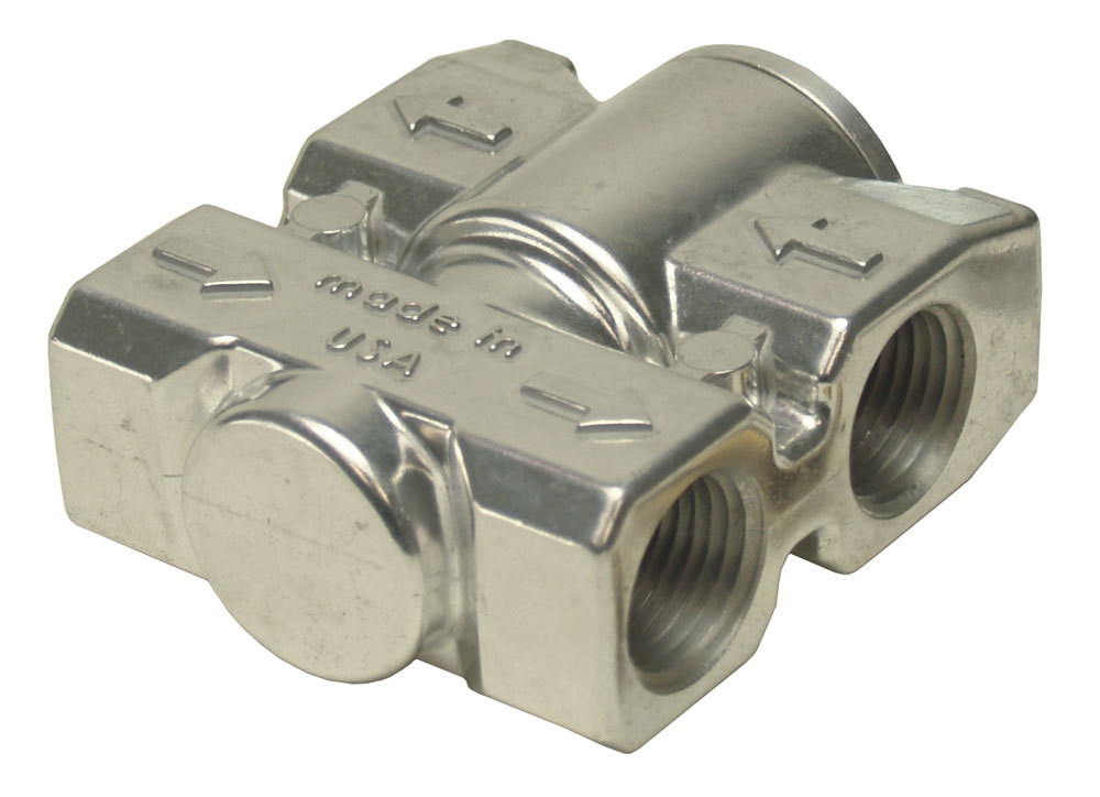 Derale 25719 Remote Oil Thermostat, Dual 1/2 in NPT Female Inlets, Dual 1/2 in NPT Female Outlets, Aluminum, Polished, Each