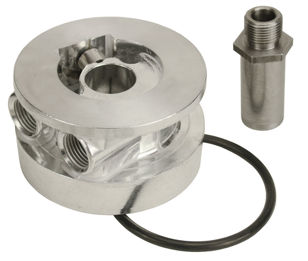 Derale 25720 Oil Cooler Adapter, Thermostatic, Sandwich, 13/16-16 in Center Thread, 1/2 in NPT Female Inlet, 1/2 in NPT Female Outlet, Aluminum, Engine Oil Cooler, Kit