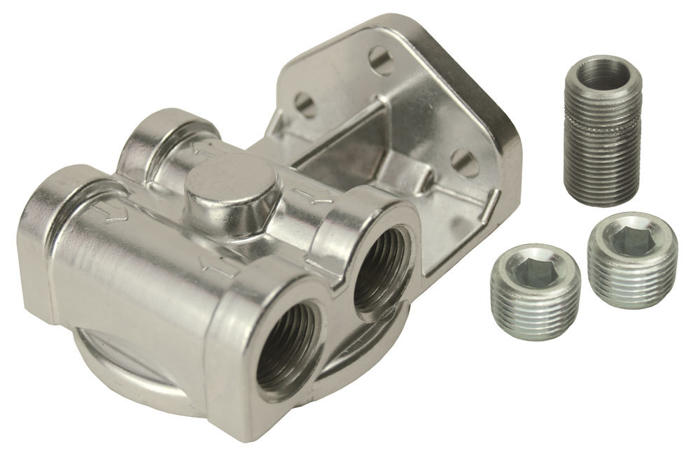 Derale 25729 Oil Filter Mount, Side Port Style, 1/2 in NPT Female Dual Ports, 13/16-16 in Center Thread, Aluminum, Polished, Universal, Each
