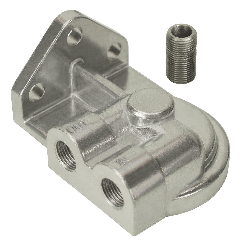 Derale 25750 Oil Filter Adapter, Bypass, Block Mount, 3/4-16 in Center Thread, 3/8 in NPT Inlet, 3/8 in NPT Outlet, Aluminum, Polished, Each