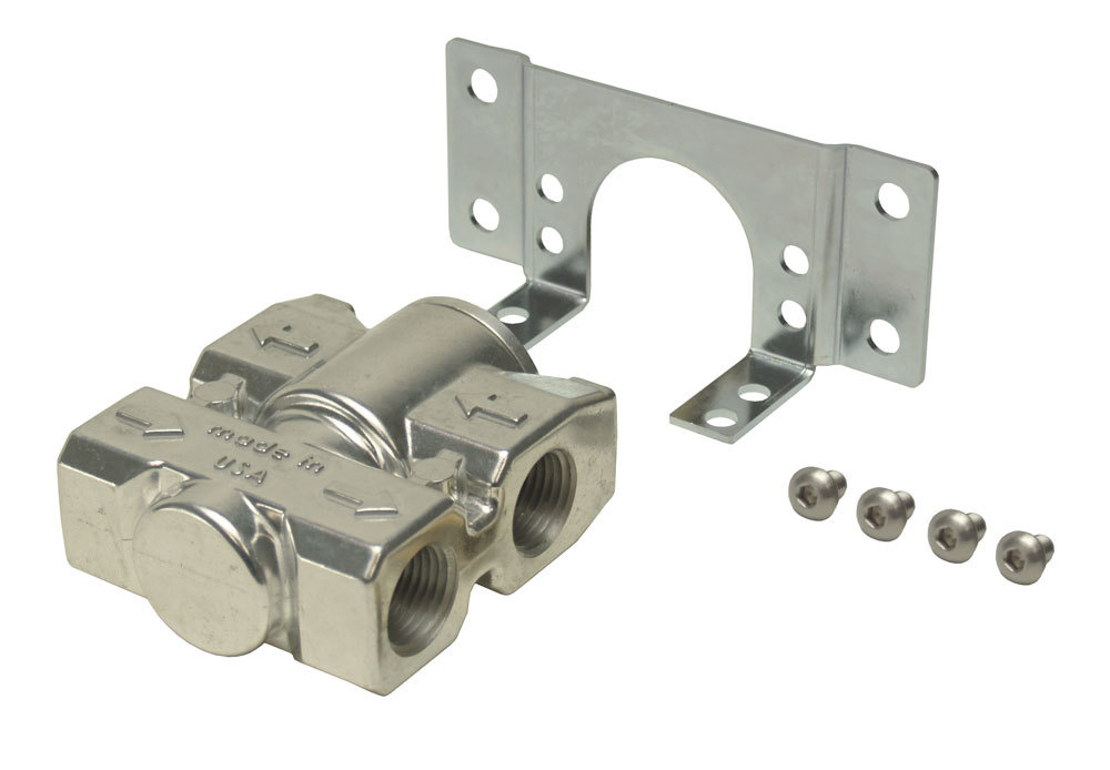 Derale 25791 Remote Oil Thermostat, Dual 3/8 in NPT Inlets, Dual 3/8 in NPT Outlets, Bracket, Aluminum, Polished, Each