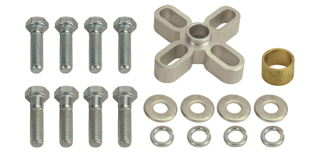 Derale 31500 Fan Spacer, 1/2 in Thick, Bushing / Hardware, Aluminum, Clear Anodized, Chevy V8 / Ford V8, Each