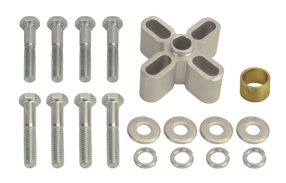 Derale 31510 Fan Spacer, 1 in Thick, Bushing / Hardware, Aluminum, Clear Anodized, Chevy V8 / Ford V8, Each