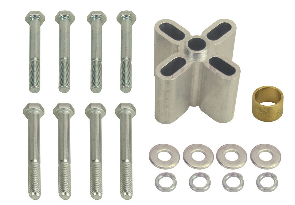 Derale 31520 Fan Spacer, 2 in Thick, Bushing / Hardware, Aluminum, Clear Anodized, Chevy V8 / Ford V8, Each