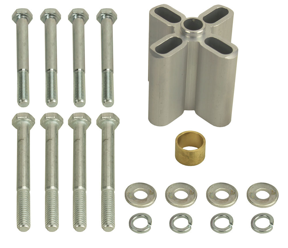 Derale 31540 Fan Spacer, 2-1/4 in Thick, Bushing / Hardware, Aluminum, Clear Anodized, Chevy V8 / Ford V8, Each