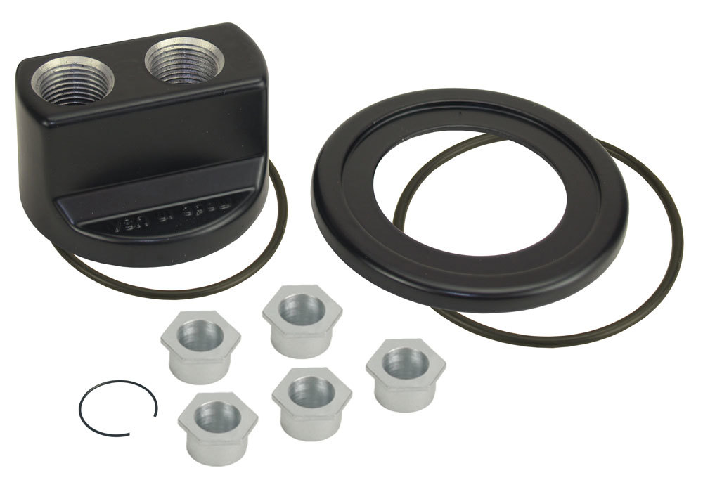 Derale 35747 Oil Filter Adapter, Bypass, Block Mount, 3/4-16 in Center Thread, 10 AN Female O-Ring Inlet, 10 AN Female O-Ring Outlet, Aluminum, Black Anodized, Each