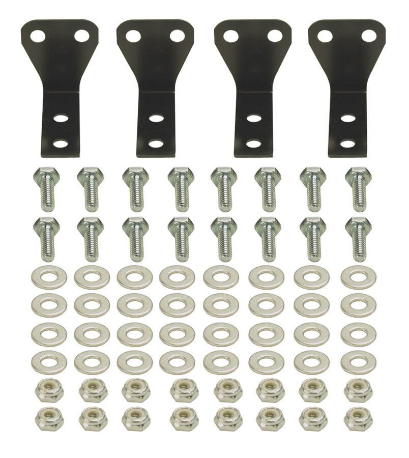 Derale 50020 Fluid Cooler Mount Kit, Brackets / Hardware, Aluminum, Black, Derale Stacked Fluid Cooler, Kit