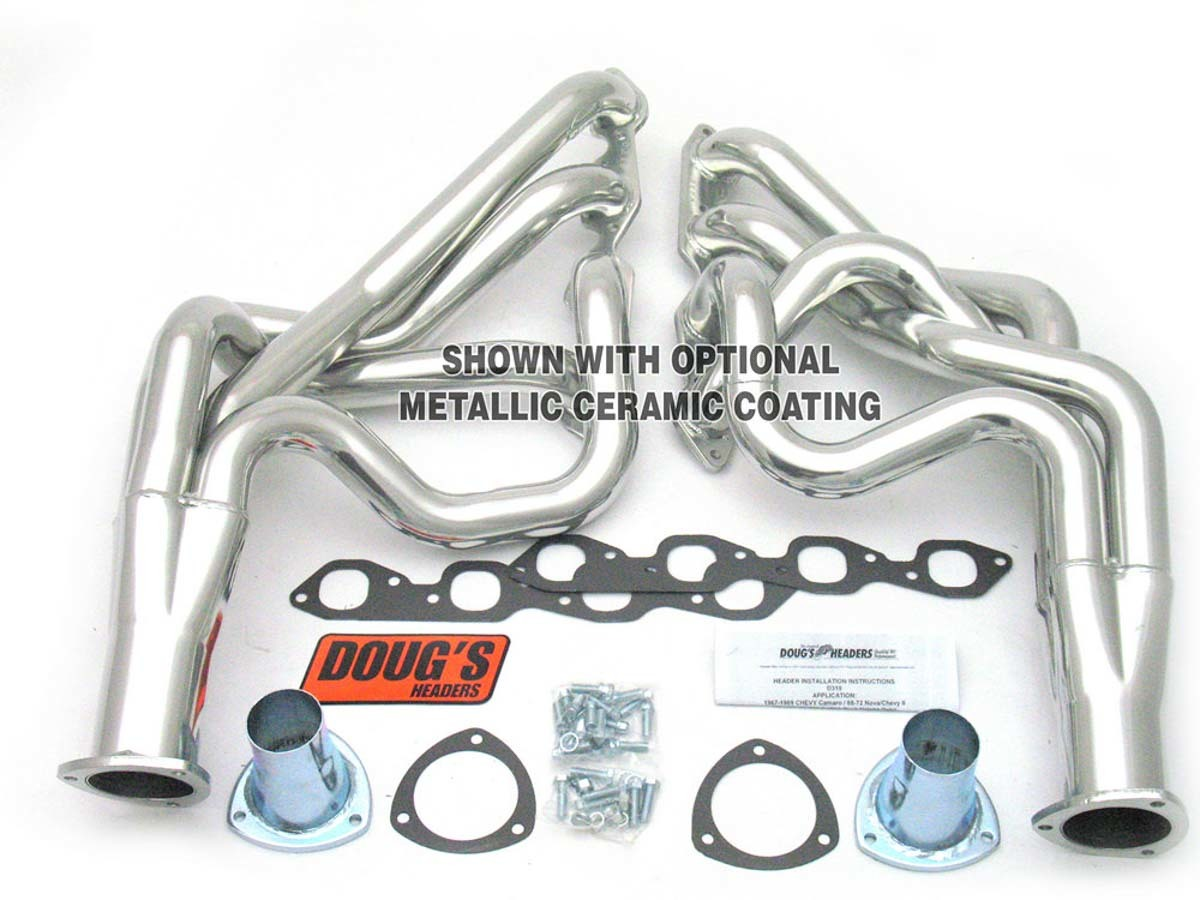 Dougs Headers D319-R Headers, Full Length, 2-1/8 in Primary, 3-1/2 in Collector, Steel, Natural, Big Block Chevy, GM F-Body 1967-69 / X-Body 1968-74, Kit