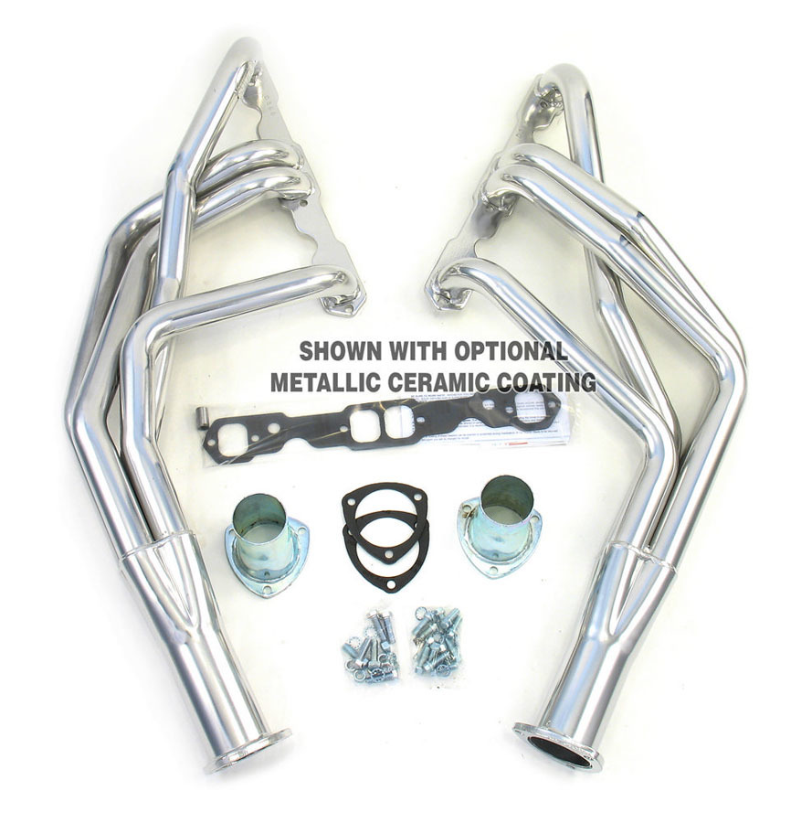 Dougs Headers D368-R Headers, 1-3/4 in Primary, 3/8 in Thickness, 3 in Collector, Gaskets Included, Steel, Natural, Small Block Chevy, Camaro 1967-69, Kit