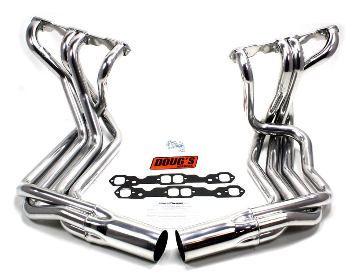 Dougs Headers D380 Headers, SideMount, 1-7/8 in Primary, 4 in Collector, Steel, Ceramic, Small Block Chevy, Chevy Corvette 1963-82, Kit