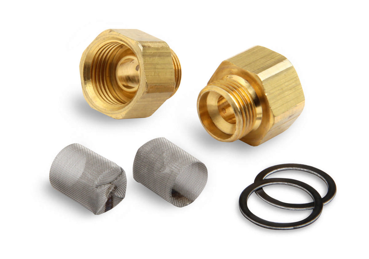 Demon Carburetion 142117 Carburetor Inlet Fitting, Straight, 9/16-24 in Male to 5/8-18 in Inverted Flare Female, Brass, Natural, Demon Carburetors, Pair