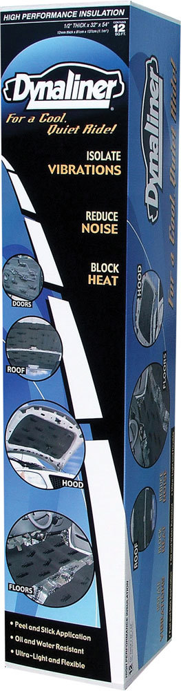 Dynamat 11103 Heat and Sound Barrier, Dynaliner, 32 x 54 in Sheet, 0.500 in Thick, Self Adhesive Backing, Foam, Black, Each