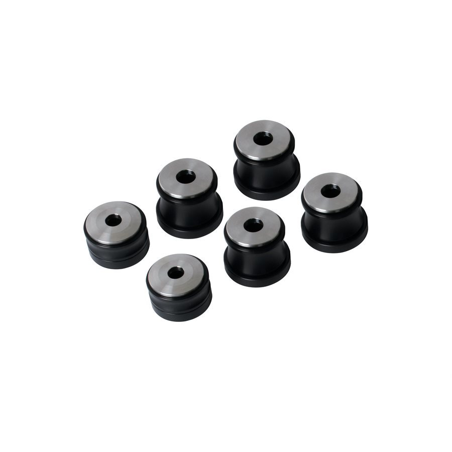 Detroit Speed 010201 Body Mount Bushing, 1/2 in Lower Height, Aluminum, Black Anodize, GM F-Body 1967-69 / GM X-Body 1968-74, Kit
