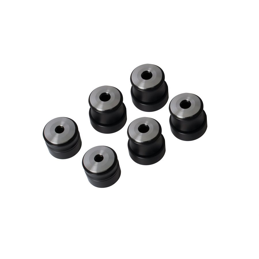 Detroit Speed 010301 Body Mount Bushing, 1/2 in Lower Height, Aluminum, Black Anodize, GM F-Body 1967-81 / GM X-Body 1968-74, Kit