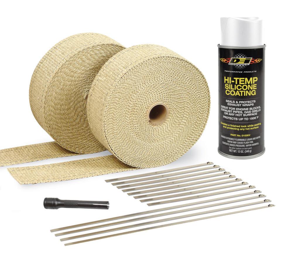 Exhaust & Pipe Wrap Kit Tan w/White High Temp