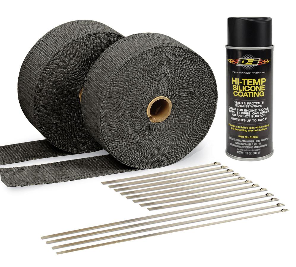 Exhaust & Pipe Wrap Kit Black w/Black High Temp