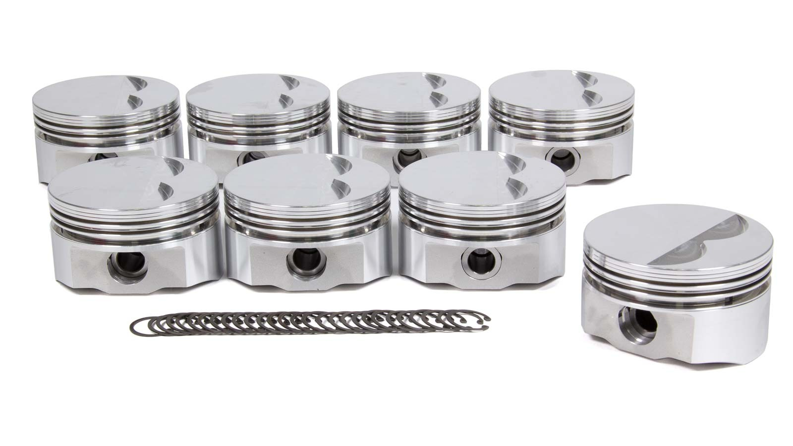 DSS Racing 8700-4000 Piston, E Series, Forged, 4.000 in Bore, 5/64 x 5/64 x 3/16 in Ring Grooves, Minus 5.0 cc, Small Block Chevy, Set of 8