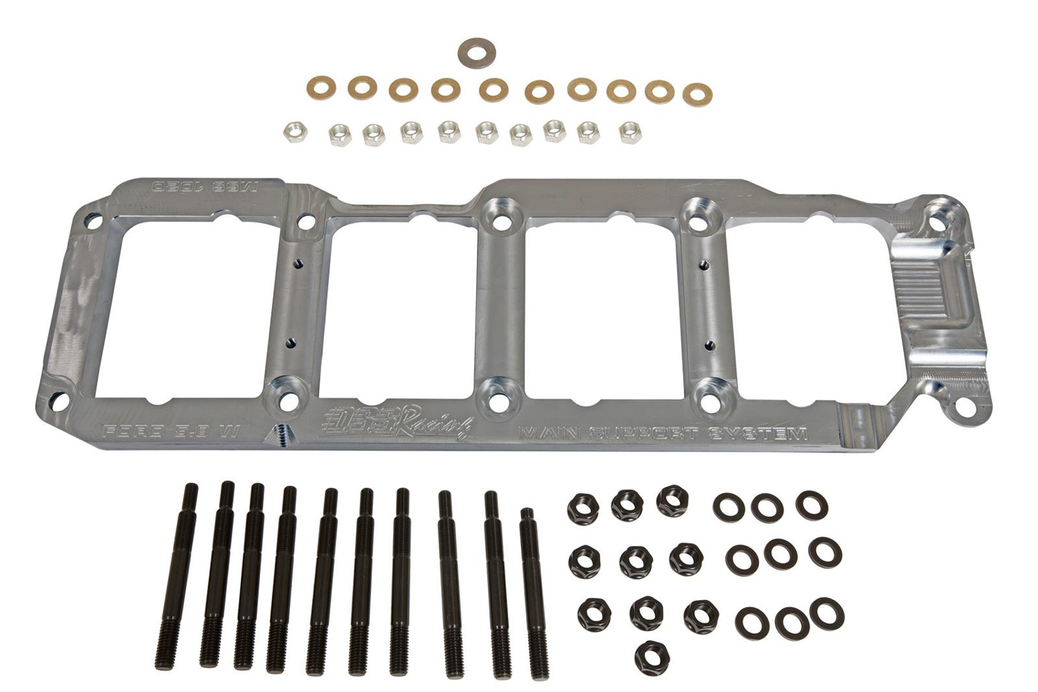 DSS Racing MSS-1020 Main Cap Girdle, 3/4 in Thick, Hardware Included, Billet Aluminum, Natural, Small Block Ford, Kit