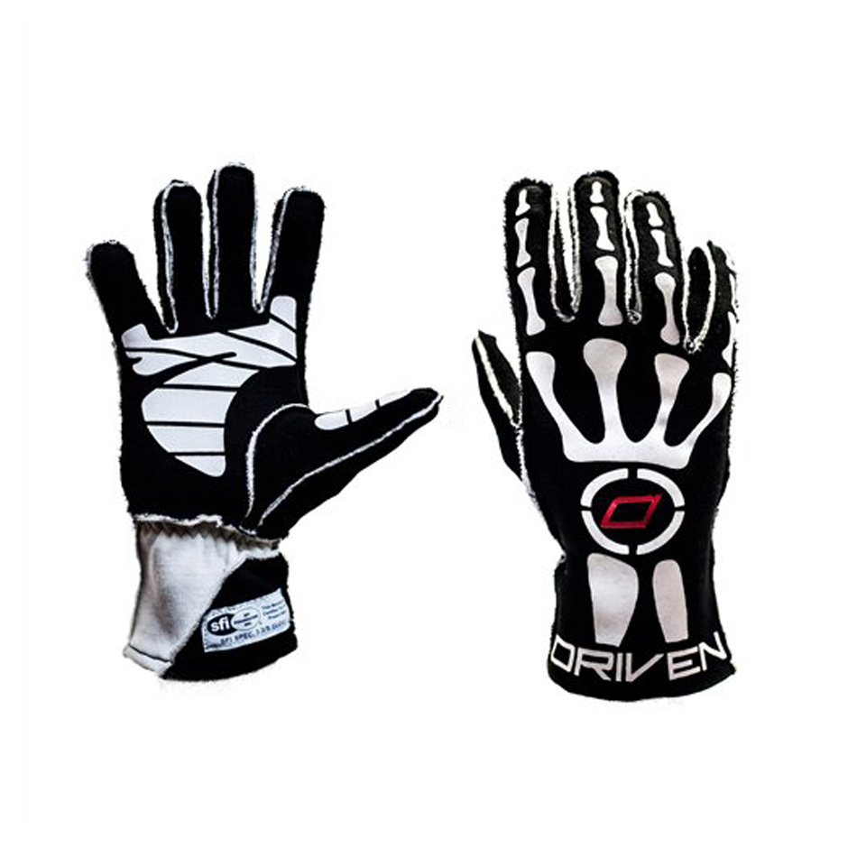 Driven Steering Wheels DRG0102LRG Gloves, Driving, SFI 3.3/5, Double Layer, Nomex, Black, Large, Pair
