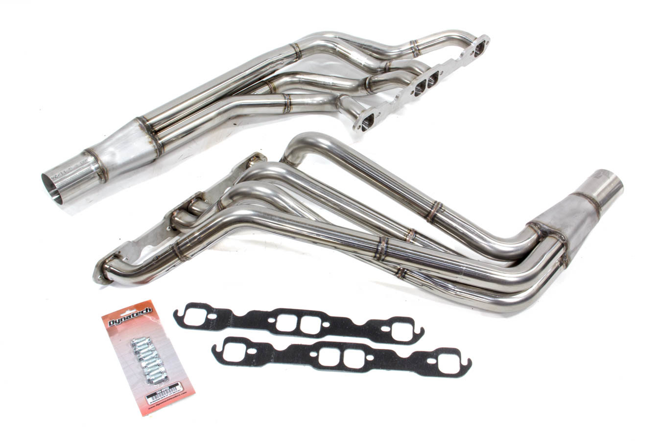 Dynatech 701-27410 Headers, Oval Track, 1-5/8 to 1-7/8 in Primary, 3 in Collector, Stainless, Natural, Small Block Chevy, Kit