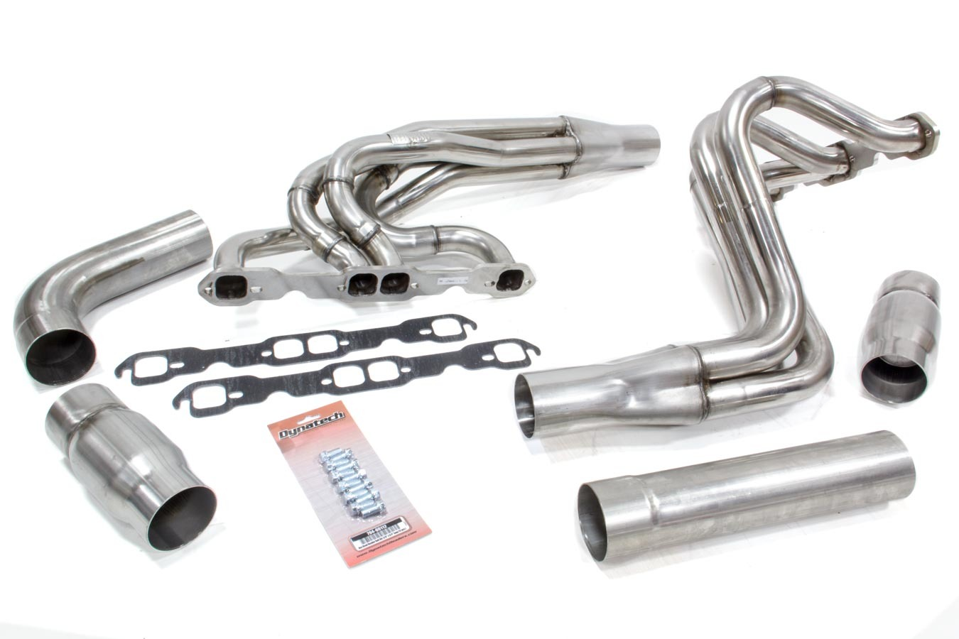 Dynatech 711-65910 Headers, Dirt Late Model, 1-5/8 to 1-3/4 in Primary, 3 in Collector, Extension, Booster, Stainless, Natural, Small Block Chevy, Kit