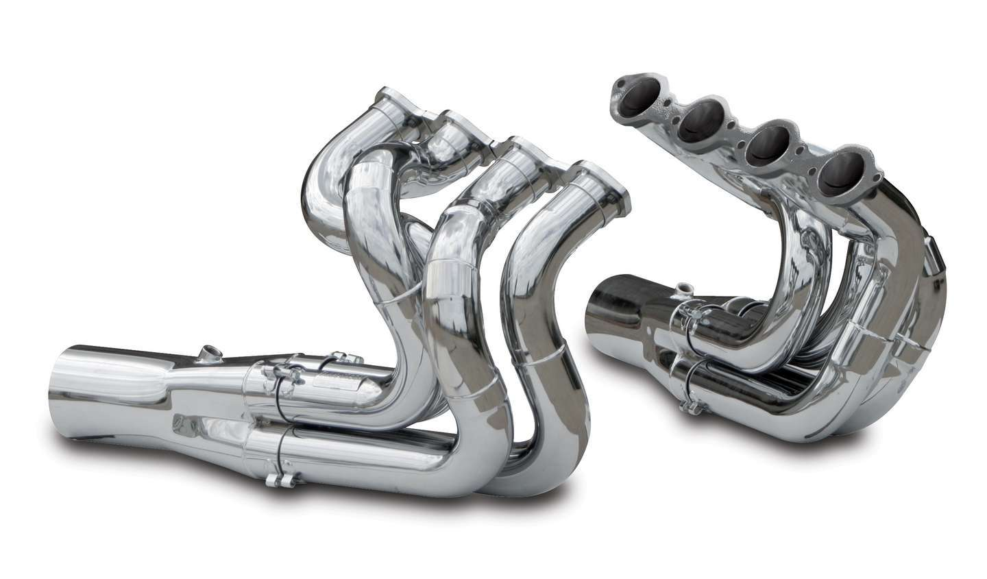 Dynatech 750-96410 Headers, Drag, 2-1/4 to 2-3/8 in Primary, 4-1/2 in Collector, Steel, Chrome, Big Block Chevy, Dragster, Kit
