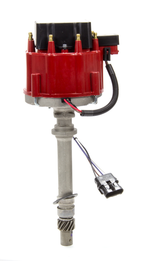Performance Distributors 12600RD Distributor, Magnetic Pickup, Electronic Advance, HEI Style Terminal, Red, Chevy V8, Each
