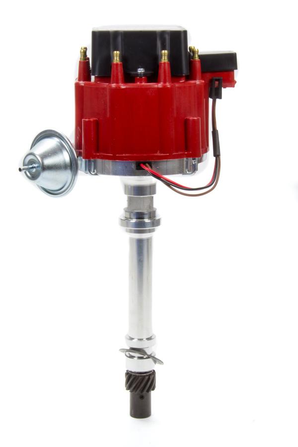 Performance Distributors 12720RD Distributor, Street / Strip, Hall-Effect Pickup, Vacuum / Mechanical Advance, HEI Style Terminal, Red, Chevy V8, Each