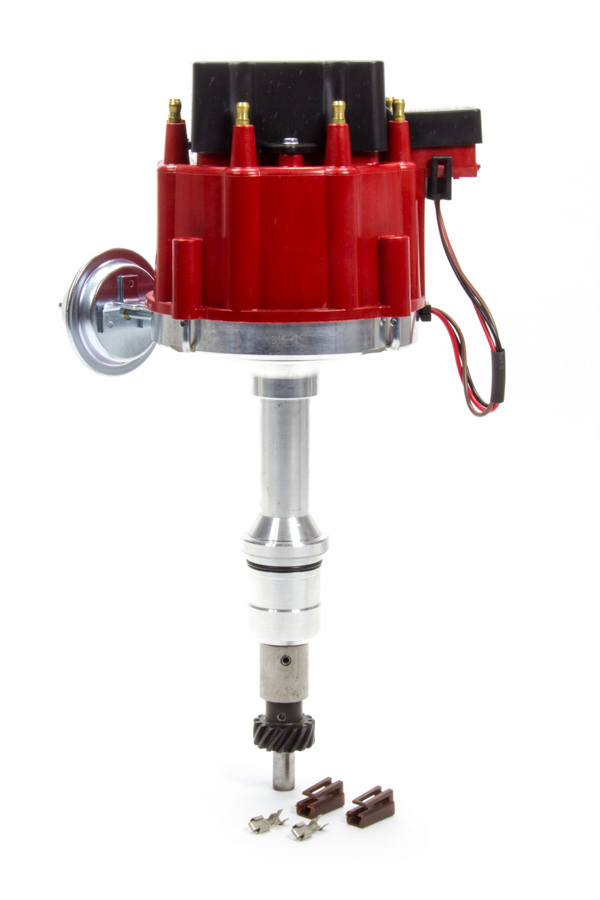 Performance Distributors 318211RD Distributor, Magnetic Pickup, Vacuum / Mechanical Advance, HEI Style Terminal, Red, Small Block Ford, Each