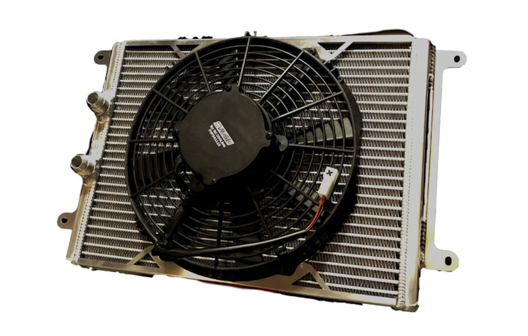 Fluidyne Performance DB-30404-SLM Fluid Cooler and Fan, Oil Cooler, 17-1/2 in x 12 in x 1-1/4 in, 12 AN Male Inlet / Outlet, Aluminum, Natural, Super Late Model, Each