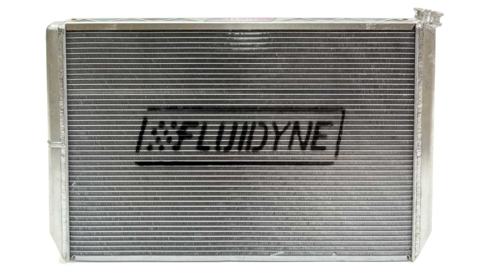 Fluidyne Performance FRP20-SLM-CM Radiator and Fan, Double Pass, 29 in W x 18 in H x 5-5/8 in D, Passenger Side Inlet, Passenger Side Outlet, Oil Cooler, Aluminum, Natural, Universal, Kit