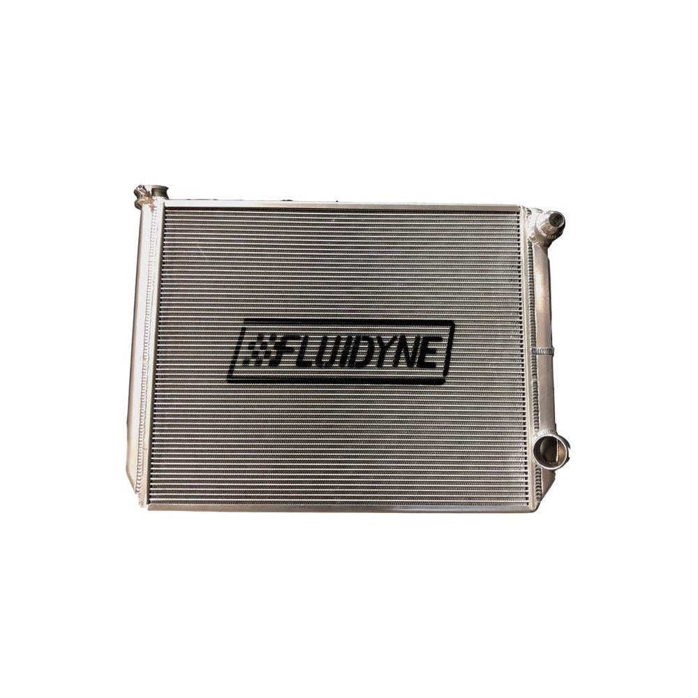 Fluidyne Performance FRP20-SLM-RO Radiator, 29 in W x 18 in H x 2 in D, Dual Pass, Passenger Side Inlet, Passenger Side Outlet, Aluminum, Natural, Each