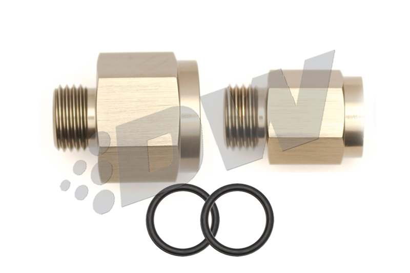 Deatschwerks 6-02-0101 Fitting, Adapter, Straight, 6 AN Female O-Ring to 18 mm x 1.5 Male, 6 AN Female O-Ring to 12 mm x 1.5 Male, Aluminum, Titanium Anodize, Kit