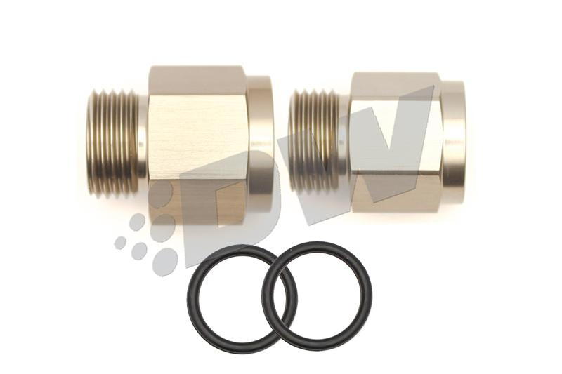 Deatschwerks 6-02-0102 Fitting, Adapter, Straight, 8 AN Female O-Ring to 18 mm x 1.5 Male, 8 AN Female O-Ring to 12 mm x 1.5 Male, Aluminum, Titanium Anodize, Kit
