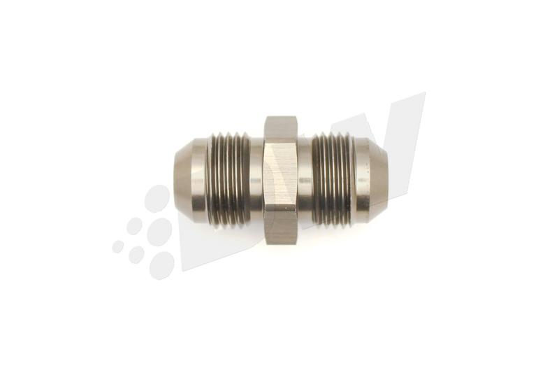 Deatschwerks 6-02-0204 Fitting, Adapter, Straight, 8 AN Male to 8 AN Male, Aluminum, Titanium Anodize, Each