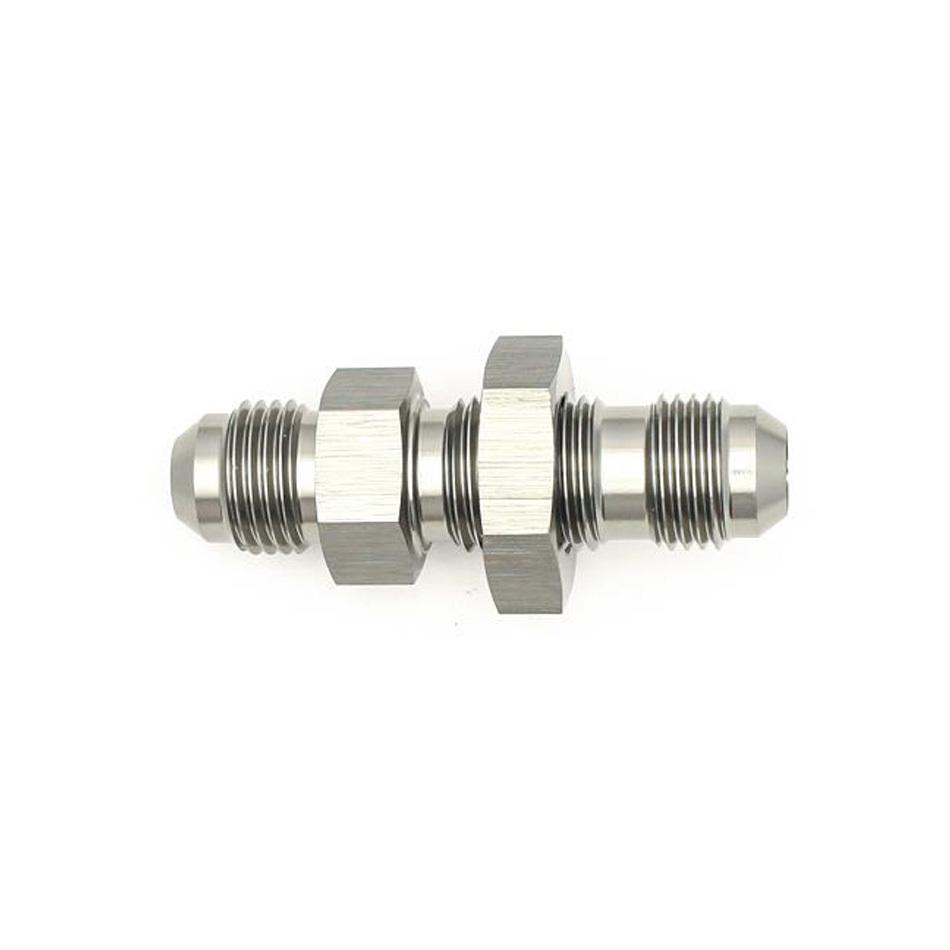 Deatschwerks 6-02-0708 Fitting, Bulkhead, Straight, 6 AN Male to 6 AN Male Bulkhead, Aluminum, Titanium Anodize, Each