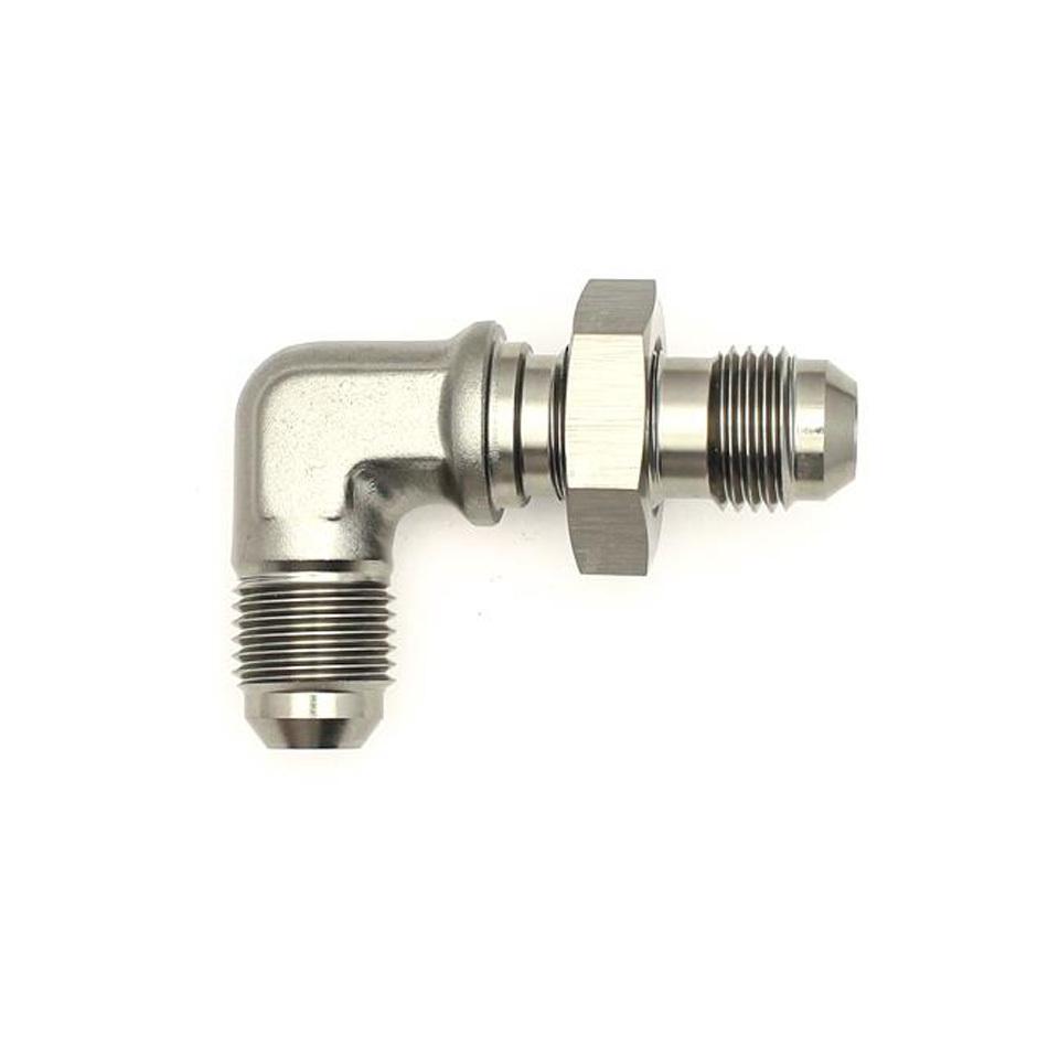 Deatschwerks 6-02-0710 Fitting, Bulkhead, 90 Degree, 6 AN Male to 6 AN Male Bulkhead, Aluminum, Titanium Anodize, Each