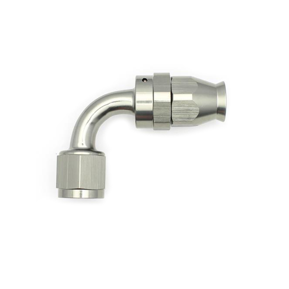 Deatschwerks 6-02-0856 Fitting, Hose End, PTFE Series, 90 Degree, 8 AN Hose to 8 AN Female Swivel, Aluminum, Titanium Anodize, Each