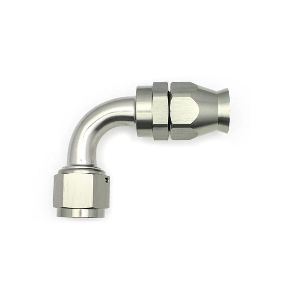 Deatschwerks 6-02-0860 Fitting, Hose End, PTFE Series, 90 Degree, 10 AN Hose to 10 AN Female Swivel, Aluminum, Titanium Anodize, Each